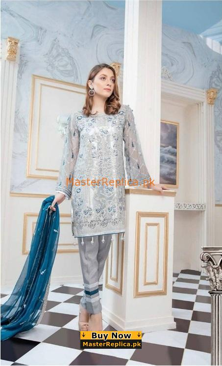 SERENE Luxury Embroidered Silver Amulet Chiffon Collection Replica