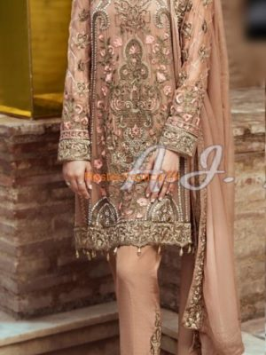 Serene Luxury Embroidered Chiffon Party Wear Collection Replica