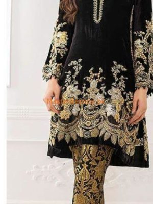 Teena Durrani Luxury Embroidered Latest Velvet Collection Replica
