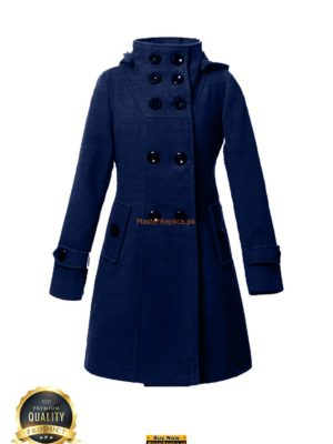 Italian Ladies Blue Winter Button-up Coat
