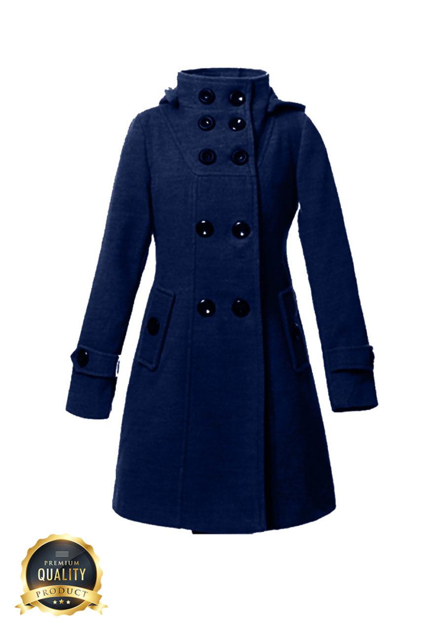 Italian Ladies Blue Winter Button-up Coat