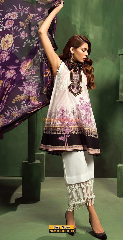 ZAHRA Luxury Embroidered Cambric Cotton Collection Replica