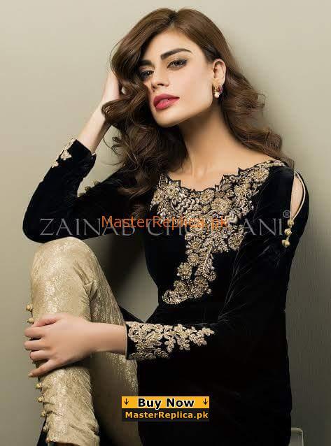 ZAINAB CHOTTANI Luxury Embroidered Velvet Collection Replica
