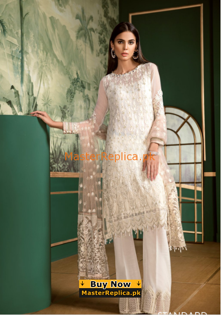 Baroque Luxury Embroidered Ivory Splendour Chiffon Collection Replica