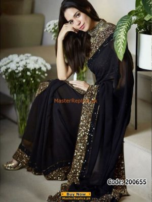 MYNTRA Luxury Embroidered Black Chiffon Collection Saaree Replica