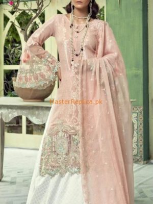 Maria B Luxury Embroidered D-502-Pastel Pink Linen Collection Replica