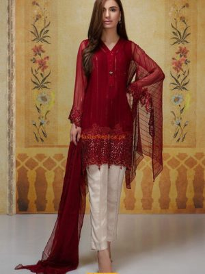 Maria B luxury Embroidered Maroon SF-1637 Embroidered Chiffon Collection Replica