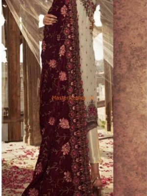 MARIA B LUXURY EMBROIDERED WINTER VELVET SHAWL 2018 MASTER REPLICA