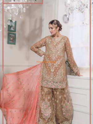 MARYAM AND MARIA Luxury Embroidered Brown Empereus (FMM-310) Chiffon Replica