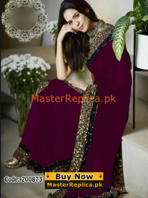 MYNTRA Luxury Embroidered Maroon Chiffon Collection Saaree Replica