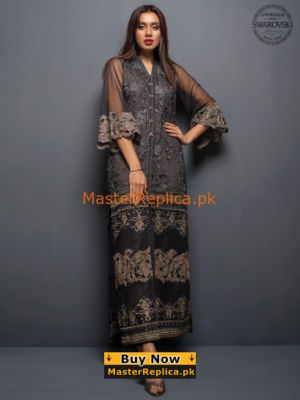 ZAINAB CHOTTANI Luxury The Charcoal Tale Embroidered Net Collection Replica