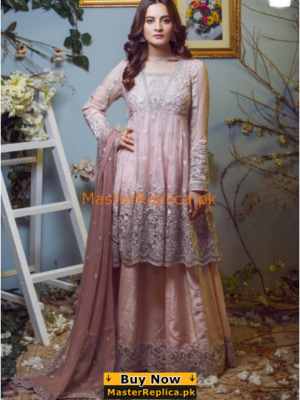 IMROZIA Luxury 04-The Taupe Affair Embroidered Chiffon Collection Replica
