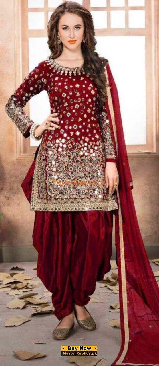 Indian Luxury Patiala Style Embroidered Chiffon Collection 2018