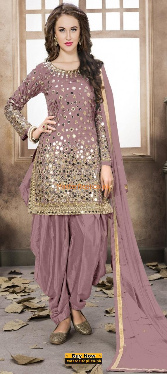 Indian Patiala Style Embroidered Chiffon Collection Replica 2018