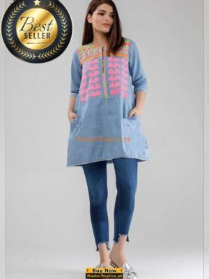 KHAADI LUXURY EMBROIDERED DENIM KURTI COLLECTION 2018 MASTER REPLICA