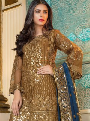 MARIAM AND MARIA Luxury EXQUISITE BROWN (MMB-206) Maysuri Collection Replica