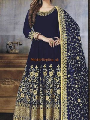 MYNTRA INSPIRED LUXURY EMBROIDERED BLUE CHIFFON BRIDAL MAXI COLLECTION 2018 MASTER REPLICA