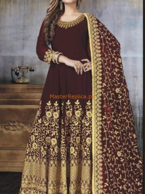 MYNTRA INSPIRED LUXURY MAROON EMBROIDERED CHIFFON BRIDAL MAXI COLLECTION 2018 MASTER REPLICA