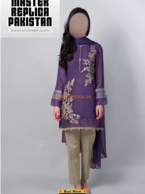 Maria B Luxury Embroidered Chiffon Brinjal Purple Collection 2018 Master Replica