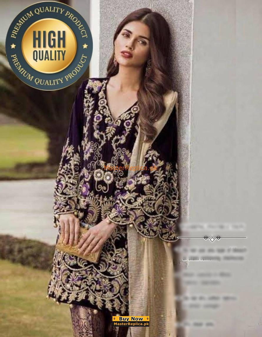 RIFFAT AND SANA LUXURY EMBROIDERED VELVET COLLECTION 2018 MASTER REPLICA