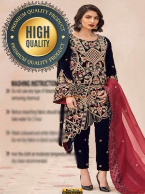 RIFFAT AND SANA LUXURY EMBROIDERED VELVET COLLECTION 2018 REPLICA