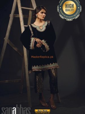 SANA ABBAS EMBROIDERED VELVET WINTER COLLECTION 2018 MASTER REPLICA