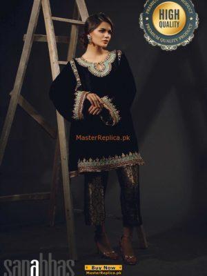 SANA ABBAS EMBROIDERED VELVET WINTER COLLECTION 2018 MASTER REPLICA