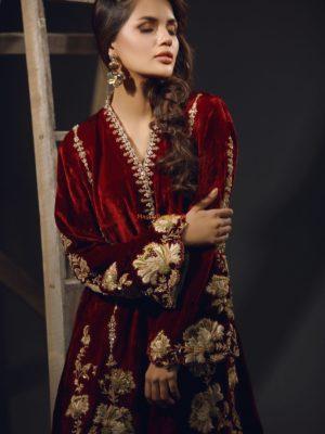 SANA ABBAS Luxury GARNET ROSE Embroidered Velvet Collection Replica
