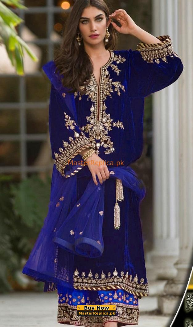 SANA ABBAS LUXURY EMBROIDERED VELVET COLLECTION 2018 MASTER REPLICA