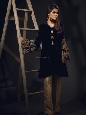 Sana Abbas Luxury Sapphire Embroidered Velvet Collection Replica