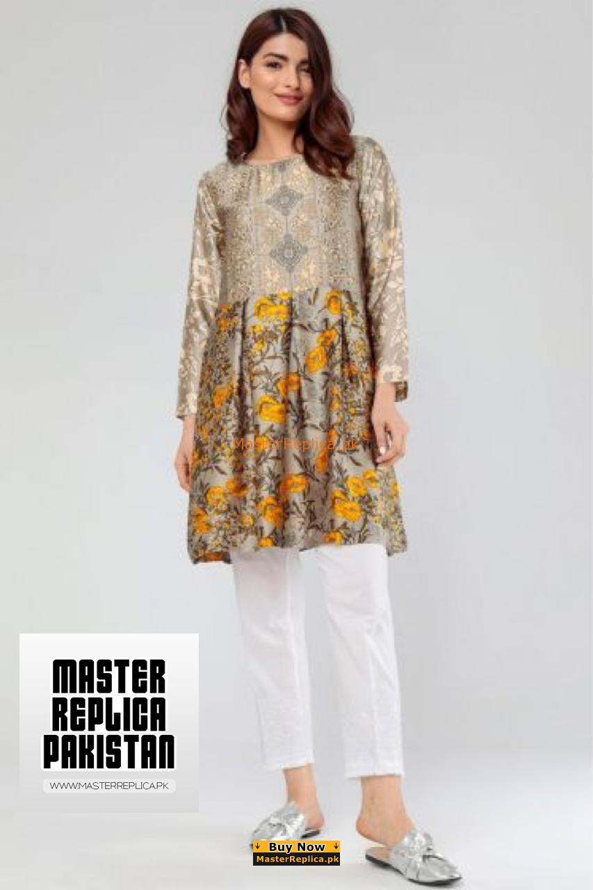 Tabassum Mughal Silk Kurti Collection 2018 Winter Kurti