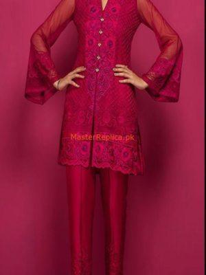 Zainab Chottani Luxury Embroidered CHERRY PINK TANGO Chiffon Collection Replica