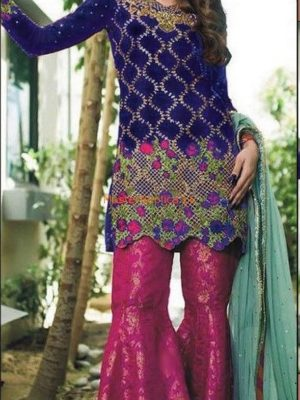 Zainab Chottani Latest Purple AND Maroon Embroidered Chiffon Collection