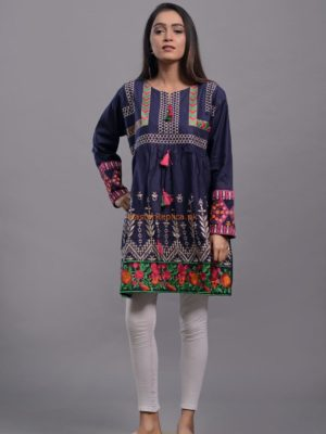 Luxury EMBROIDERED LINEN STITCHED KURTI COLLECTION 2018