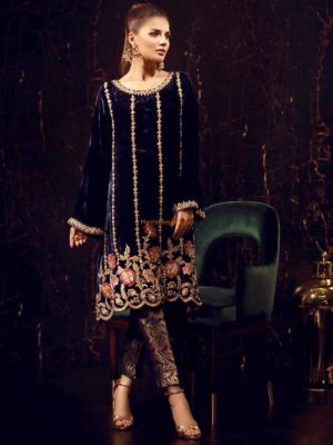 Sana Abbas Luxury Dandelion Embroidered Velvet Collection Replica