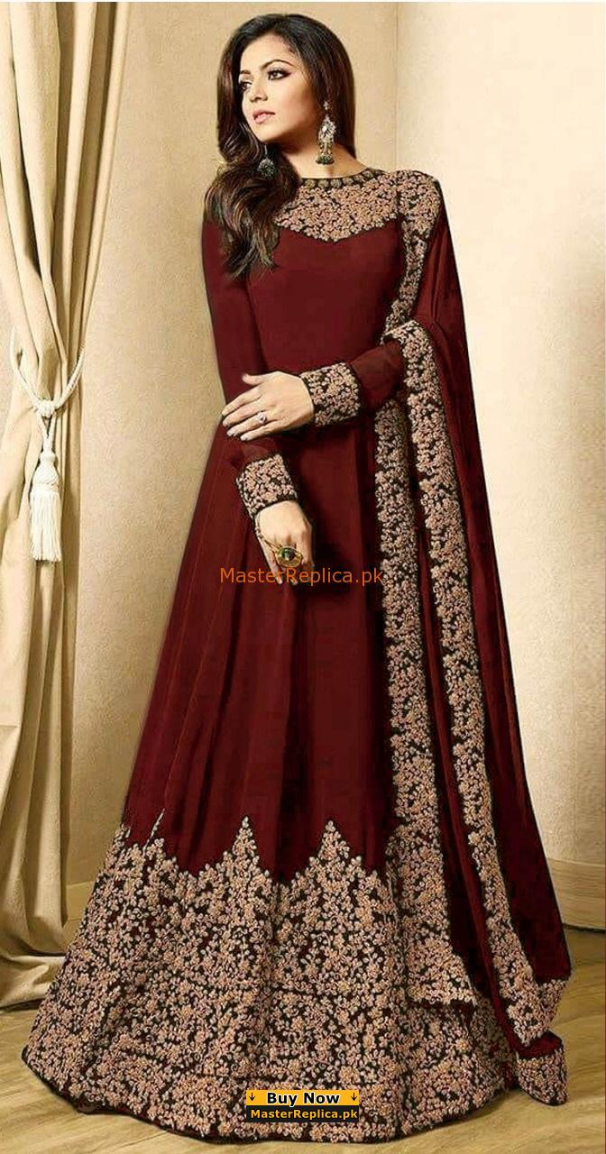 INDIAN LATEST EMBROIDERED CHIFFON MAXI COLLECTION REPLICA