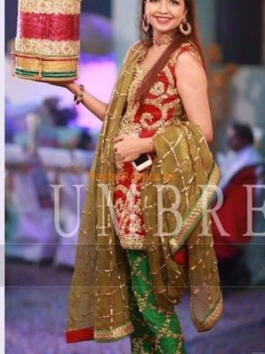 AMBREEN IBRAHIM Luxury Embroidered Bridal Wear Chiffon Collection Replica