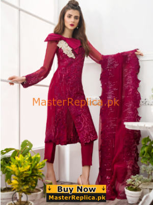 ASIFA & NABEEL Luxury Ruby Red – 6F Embroidered Chiffon Collection Replica