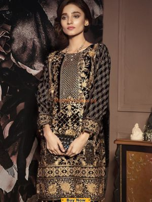 LUXURY EMBROIDERED VELVET KURTI COLLECTION 2018 REPLICA