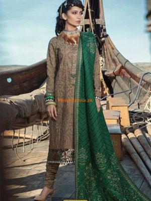 MARIA B LUXURY DL-612-BROWN & GREEN COTTON EMBROIDERED COLLECTION REPLICA