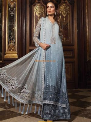 Maria B Luxury Powder Blue (BD-1507) Embroidered Chiffon Collection Replica