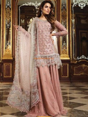 Maria B. Luxury Glittery Pink (BD-1506) Embroidered Organza Collection Replica