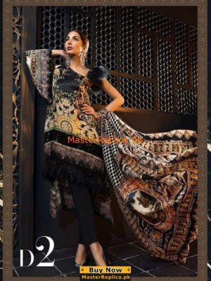 Maria B Luxury MSK-102-Black And Kora Printed Silk Collection Replica