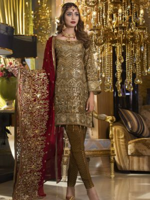 MARYAM & MARIA LUXURY OLIVE BROWN (FMM-410) EMBROIDERED CHIFFON COLLECTION REPLICA