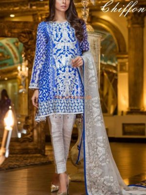 MARYAM & MARIA Luxury Haut Blue (MMB-208) Embroidered Chiffon Collection Replica