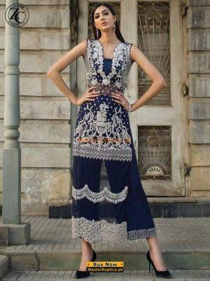 Zainab Chottani Luxury Navy Ecstasy Embroidered Net Collection Replica
