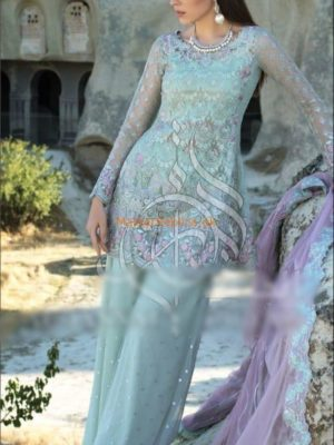 ZAINAB CHOTTANI LUXURY LAVENDAR OPAL EMBROIDERED NET COLLECTION REPLICA