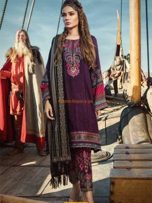 Maria B Luxury DL-610-Purple Embroidered Linen Collection Replica 2019