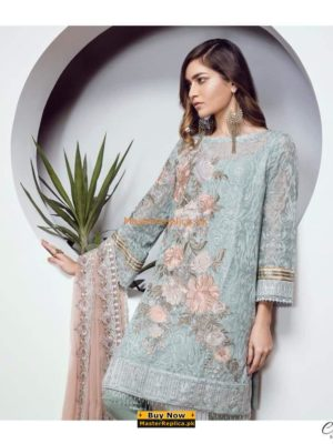 Baroque Luxury Ornament Blue Embroidered Chiffon Collection Replica