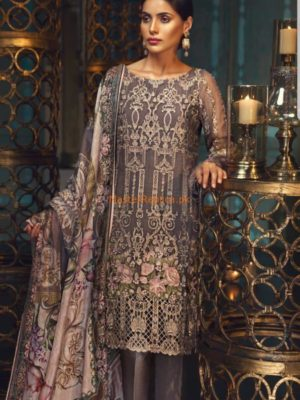 Jazmin Luxury Taupe Rosé Embroidered Chiffon Collection Replica